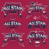 Weinlese trägt All-Star- Kämme mit dem amerikanischen Fußball zur Schau Stockfoto