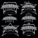 Weinlese trägt All-Star- Kämme mit Fußballthema zur Schau Stockbild