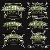 Weinlese trägt All-Star- Kämme mit Hockeythema zur Schau Lizenzfreie Stockfotografie