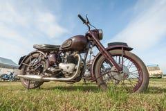 Weinlese-Triumph-Motorrad Stockfoto