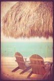 Weinlese-tropische Strand-Hütte Lizenzfreies Stockfoto