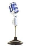 Weinlese u. reizvolles Ineinander greifen des Metallmikrophons w/blue Lizenzfreie Stockbilder