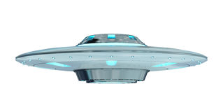 Weinlese UFO lokalisiert auf weißer Wiedergabe des Hintergrundes 3D Stockfoto