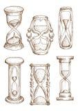 Weinlese und moderne Sanduhrskizzenikonen Stockbild