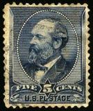 Weinlese US-Briefmarke von Präsident Garfield 1880s Stockfotografie