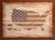 Weinlese-USA-Karte auf Papierfertigkeit stock abbildung