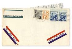 Weinlese USA-Luftpost-Umschlag lizenzfreies stockfoto