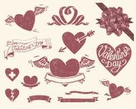 Weinlese Valentineâs Tagesset Lizenzfreies Stockfoto