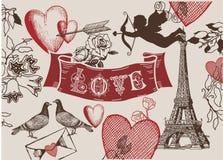 Weinlese-Valentinsgruß franch Liebesfahne kombiniert Stockbilder
