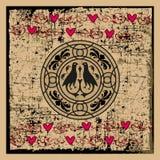Weinlese-Valentinsgruß-oder Hochzeits-Illustration Lizenzfreies Stockbild