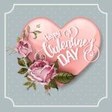 Weinlese-Valentinsgruß-Tagesgrußkarte mit Rosen und Herzen Stockfoto