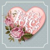 Weinlese-Valentinsgruß-Tagesgrußkarte mit Rosen und Herzen Stockbilder