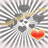 Weinlese-Valentinstagkarten Stockfotografie