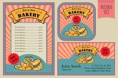 Weinlese-Vektor-Bäckerei beschriftet Sammlung Lizenzfreie Stockbilder