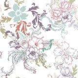 Weinlese-Vektor-nahtloses mit Blumenmuster Lizenzfreie Stockbilder