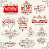 Weinlese-Vektor-Weihnachtsaufkleber Stockbilder