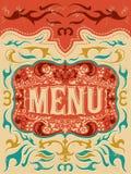 Weinlese-Vektorgrill - Restaurantmenüdesign Stockbilder
