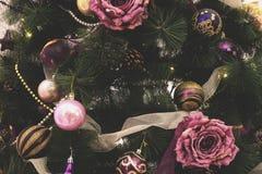 Weinlese verzierte Weihnachtsbaum-Feenhintergrund Lizenzfreies Stockbild