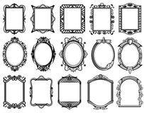 Weinlese Victorian, Barock, Rokokorahmen für Spiegel, Menü, Kartendesign-Vektorsammlung Lizenzfreies Stockfoto