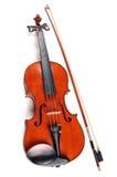 Weinlese-Violine mit Bogen Lizenzfreie Stockfotos