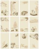 Weinlese-Visitenkarten Stockbilder