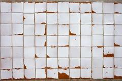 Weinlese-weißer mit Ziegeln gedeckter Wand-Hintergrund Lizenzfreies Stockbild