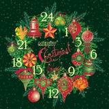 Weinlese-Weihnachten Advent Calendar Stockbild