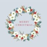 Weinlese-Weihnachten, Grußkarte des neuen Jahres, Einladung mit Illustration des dekorativen Blumenkranzes gemacht von der Stechp lizenzfreie abbildung
