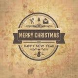 Weinlese-Weihnachten und Eve Card des neuen Jahres Stockfotos
