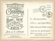 Weinlese-Weihnachts- und guten Rutsch ins Neue Jahr-Urlaubspostkartehintergrund Lizenzfreies Stockfoto