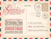Weinlese-Weihnachts- und guten Rutsch ins Neue Jahr-Urlaubspostkartehintergrund stock abbildung