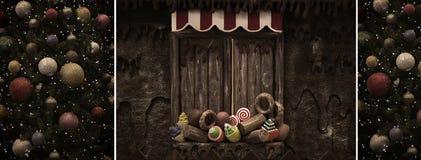 Weinlese-Weihnachtscollage Stockfotografie