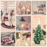Weinlese-Weihnachtscollage Lizenzfreie Stockfotos