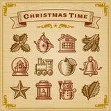 Weinlese-Weihnachtsdekorationen Lizenzfreie Stockfotos
