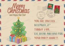 Weinlese-Weihnachtseinladung mit Briefmarken lizenzfreie abbildung