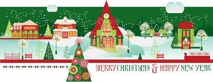 Weinlese-Weihnachtsfahne mit Eve Cityscape Stockfoto