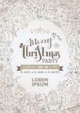 Weinlese-Weihnachtsfesteinladung mit netten Gekritzelschneemännern Stockbild