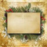 Weinlese-Weihnachtshintergrund mit alter Postkarte, Niederlassungen und hol Stockfotos