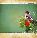 Weinlese Weihnachtshintergrund mit Bullfinch lizenzfreie abbildung