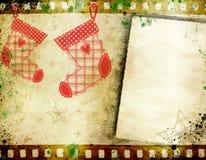 Weinlese-Weihnachtshintergrund mit Kopienraum lizenzfreie stockbilder