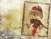 Weinlese-Weihnachtshintergrund mit Kopienraum stockfotografie