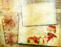 Weinlese-Weihnachtshintergrund mit Kopienraum stockfotos