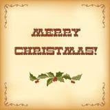 Weinlese-Weihnachtskarte. Beschriftung der frohen Weihnachten Stockbild
