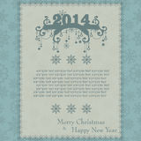 Weinlese-Weihnachtskarte gemacht von den Schneeflocken stock abbildung