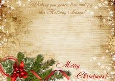 Weinlese-Weihnachtskarte mit den Wünschen Lizenzfreies Stockbild