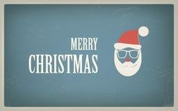 Weinlese-Weihnachtskarte mit Retro- Hippie-Design Lizenzfreie Stockfotos