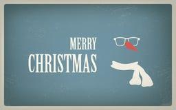Weinlese-Weihnachtskarte mit Retro- Hippie-Design Lizenzfreie Stockbilder