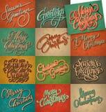 Weinlese-Weihnachtskartenset Stockbilder