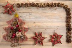 Weinlese-Weihnachtskonzept mit Raum für Text lizenzfreies stockbild