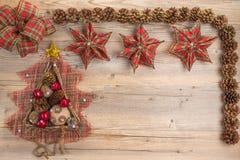 Weinlese-Weihnachtskonzept mit Raum für Text lizenzfreie stockfotos